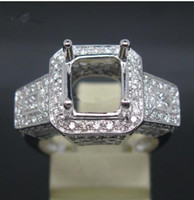 semi mount ring - Emerald mm SOLID K WHITE GOLD NATURAL DIAMOND Wedding Engagement SEMI MOUNT SETTING RING CERTIFICATE FACTORY PRICE XDMR021