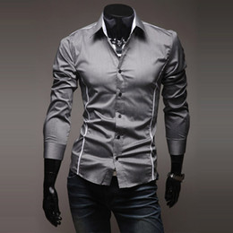 Wholesale Men s Shirts Colors Slim Fit Casual Unique Neckline Stylish Turn down Collar Long Sleeve Shirt Men summer Clothing M