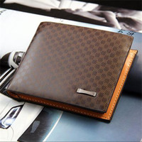 Wholesale Fashion Men s Male PU Leather Plaid Wallet Mens Man Vintage Denim Wallet Casual Pockets Card Collector holder Bifold Purse Coffee H9999