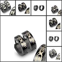 Wholesale 2014 Vintage Black Earring Jewelry Stainless Steel Ear Stud Punk Styles For Men Women