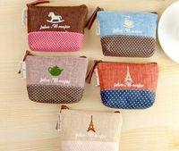 Wholesale canvas bag Coin keys wallet Purse change pocket holder organize makeup HYQ03