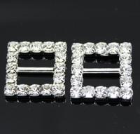 Wholesale 100pcs mm Inner Bar Square Wedding Invitation Clear Rhinestone Buckle Diamante Ribbon Slider