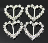 Wholesale 100pcs mm Bar Clear Rhinestone Buckle Heart For Wedding Invitation Diamante Ribbon Sliders
