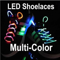 Public Shoelaces Red Wholesale - Latest model LED Flashing shoelace light up shoe Flashing Disco Party Fun Glow Laces Shoes 100pair
