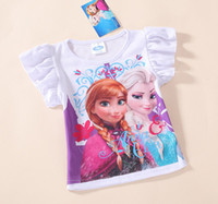 Wholesale In Stock Frozen Elsa Anna Girls short sleeve Cotton White t shirt kids cartoon summer clothing top tees t shirt