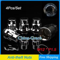 Silver anti theft screw - 4Pcs Set M12x1 Wheel Anti theft Nuts Screw Cap High Quality Car Alloy Locking Lug Nut Closed End Silver