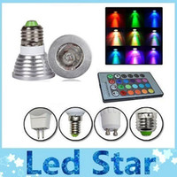 Wholesale Memory RGB W E27 E26 GU10 Led Bulbs Light E14 GU5 MR16 V V Led Spotlights Colors Change IR Remote Controller