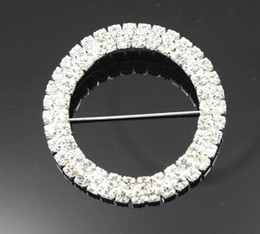 Wholesale Factory Price Dia mm Double Row Round Chair Sash Buckle Made Of Czech Rhinestone Customized Size Available