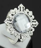 Aluminum Alloy ECO Friendly  100pcs lot White Diamond Napkin Ring Serviette Holder Wedding Decoration Bridal Shower Party Favor