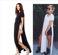 Wholesale 2014 HOT new summer black white POP OF JUNK GYPSY TEE LONG TSHIRT OPEN ON THE SIDES CATTON LONG CASUAL GIRL DRESS