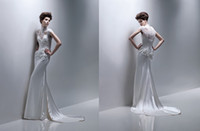 Cheap 2014 Retro Fashion Sheath High Collar wedding dresses Short sleeve Chapel Train Alencon lace Applique Beaded Stretch satin Wedding gowns