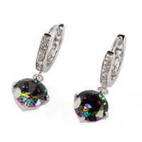 Wholesale Fashion Romantic Rainbow Mystic Topaz Silver Cubic Zirconia Earrings E723
