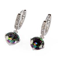 Wholesale Fashion Romantic Rainbow Mystic Topaz Silver Plated Cubic Zirconia Earrings E723
