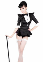 Wholesale Hot Girls GENERATION uniforms female jazz dance costume black tuxedo ds costumes the swallow tailed Costume silk sexy dress