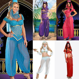 Wholesale Sexy GENIE Jasmine Aladdin Princess Costume Fancy Dress Arabian Belly Dancer