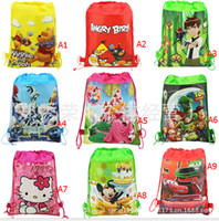 best handbag wholesale - 24Pcs Cartoon Drawstring Backpack Kids Bags Handbags Kids School Shopping Bags Non woven Kids Best Gift