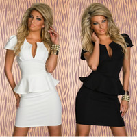 bandeau mini dress - M L XL Plus Size Colors New Fashion Women Bandeau Deep V Neck OL Peplum Bandage Dress Evening Mini Dress Party Dress