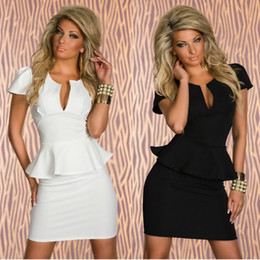 Wholesale M L XL Plus Size Colors New Fashion Women Bandeau Deep V Neck OL Peplum Bandage Dress Evening Mini Dress Party Dress