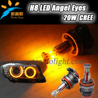 Wholesale 20w H8 angel for BMW E87 E92 E93 X5 E70 X6 E71 E60 E61 E90 E63 E64 Led Angel Ayes with Red Yellow Green White Blue Led Ring kit