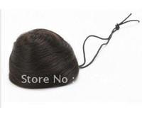 Wholesale Pony Tail Hair Extension Bun Hair piece Scrunchie human hair Dark brown color