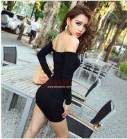 Work Sheath Mini New 2013 Fashion Women Sexy Nightclub Jumpsuit Skirt,Boat Neck Long-Sleeved Black Strapless Stretch Tight Package Hip Sexy Dress