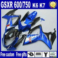 Wholesale Injection molding ABS fairing kit for SUZUKI fairings K6 GSXR600 GSXR GSXR black blue plastic motobike set NT15