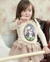 TuTu pink dress - Hot New Fashion Children Girls Dress Princess Girl Dresses Flouncing Lace Gauze Dress Long Sleeve Cotton Party Dress White Pink C2237