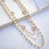 Wholesale HOT sale cross multilayer beaded pearl rose flower long sweater chain necklaces strands strings Christmas gift frees shipping