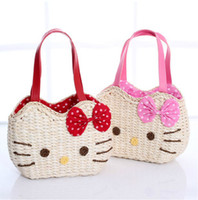 Totes corn husk - cat corn husk handmade straw bag beach bag