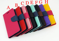 For Apple iPhone Leather  Mercury Wallet PU Flip Leather Case Card Slot Money Pocket For iPhone 4 4S 5 Samsung Galaxy S2 S3 S4 S5 i9600 Note 2 3 With Retail Package