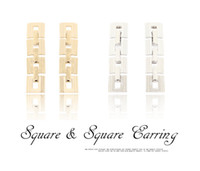 Dangle & Chandelier gold,silver South American European Style Gold Silver Plated Alloy Square Geometry Chain Dangle Earrings 12Pairs lot