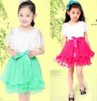 Wholesale For Big Girl Summer Girls Dresses Rose Red Green Ruffle Splic Sexy Lace Gauze Nat Yarn Girl Dress Ribbon Belt Princess Dressy C2240