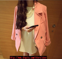 Wholesale Fashion Women Lapel Suit Pure Color Loose Long Clothes Coat Pure Cotton One Button Women Suit