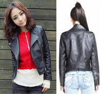 Wholesale Environmental protection of leather new women s PU motorcycle clothing female short design slim leather jacket leather coat