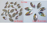 Wholesale 100pcs MM Crystal Clear AB Sew On Acrylic Rhinestones Beads Flat back Horse Eye Sewing Buttons
