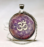 Pendant Necklaces South American Unisex G29-Om Necklace Yoga Jewelry Purple Lotus Flower, Om Symbol, Buddhism, Zen Art Pendant With Ball Chain Included Wholesale