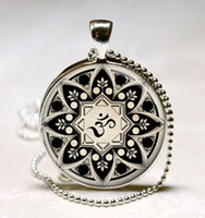 om pendant - G30 Yoga Jewelry Om Necklace Om Symbol Buddhism Zen Meditation Mandala Art Pendant With Ball Chain Included