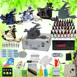 Wholesale USA Storage Beginner Cheap tattoo Starter kits with carrying case machine guns inks sets LCD power Needles Tattoo Equipment supply K102