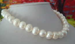 Fine Pearl Jewelry genuine natural 12-13mm Akoya white pearls necklace 18inch 14k