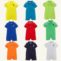 Unisex Summer 100% Cotton Wholesale -Solid colour Baby boy romper kids short sleeve lapel rompers 8 colors baby boy jumpsuit summer infant clothing baby boy clothes