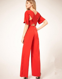 Red full length jumpsuits women batik sexy hollow out backless cross 2015 womens fall fashion boot cut polyester rompers