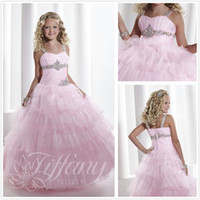 girls pageant dresses size 10 - 2014 Hot Sale Spaghetti Diamond Beads Sash Floor Length Ruffles Party Formal Occasion Ball Gown Girl Pageant Dresses Custom Made Full Size