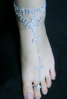 Wholesale Elegant Chic Lady s Barefoot Sandals Full Rhinestone Anklets With Toe Ring Silver Plated Bridal Jewelry For Beach Wedding Party