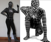 Wholesale adult latex spiderman catsuit costume black spiderman costume