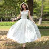 Casual Dresses Round Ankle Length Wholesale 2014 New sexy Womens Boho Maxi Dress Chiffon Sleeveless Party Dress Summer long skirt White colors free shipping