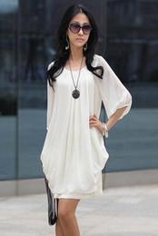 Plus size women chiffon dresses M to XXXXL korean style loose o neck sleeve white dress black purple pink blue dresses