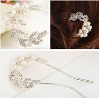 Wholesale 2014 Fashion Hair Jewelry Wedding Bridal Hair Accessories Hair Sticks Rhinestone Flower Tiara F030