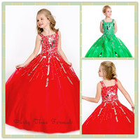 Reference Images Girl Sequins/Crystal 2014 Perfect Red Square Large Crystal Sequins on Bodice Little Girl Ball Gown Soft Sparkling Organza Zipper Girl Pageant Party Dresses