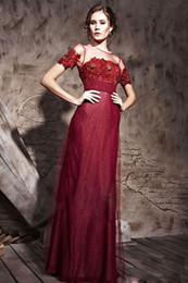 Wholesale Sexy Sheath Scoop With Sheer Neck Floor Length Short Sleeve Satin Tulle Mother Of The Bride Dress With Sequins Flowe