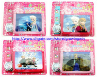 Wholesale 2014 sofia the first frozen one direction kid fashion watch and wallet children quartz cartoon watch sets boys girls purse watch